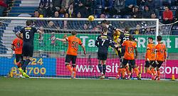 Falkirk's Ciaran McKenna scoring their goal. Falkirk 1 v 1 Dundee United, Scottish Championship game played 23/2/2019 at The Falkirk Stadium.