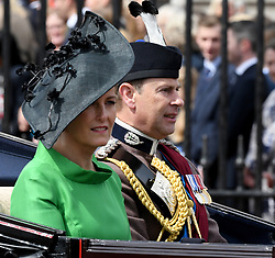 Sophie, Countess of Wessex and Prince Edward, Earl of Wessex  ride in an open carriage during Trooping the Colour in London