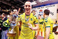 20150426 NED: Eredivisie Landstede Volleybal - Abiant Lycurgus, Zwolle<br />Dennis Borst (18) of Landstede Volleybal<br />©2015-FotoHoogendoorn.nl / Pim Waslander