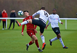 DERBY, ENGLAND - Friday, March 8, 2019: Liverpool's Curtis Jones and Derby County's substitute Sven Karic during the FA Premier League 2 Division 1 match between Derby County FC Under-23's and Liverpool FC Under-23's at the Derby County FC Training Centre. (Pic by David Rawcliffe/Propaganda)