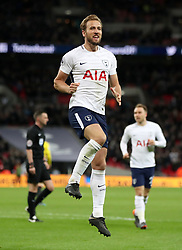 Tottenham Hotspur's Harry Kane celebrates scoring his side's second goal of the game during the Premier League match at Wembley Stadium. London.