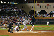 CHICAGO - OCTOBER 25:  Jermaine Dye of the Chicago White Sox bats during Game 3 of the 2005 World Series against the Houston Astros at Minute Maid Field on October 25, 2005 in Chicago, Illinois.  The White Sox defeated the Astros 7-5.