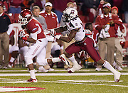 Nov 5, 2011; Fayetteville, AR, USA;  Arkansas Razorback wide receiver Joe Adams (3) is brought down by South Carolina Gamecock strong safety D.J. Swearinger (36) during a game at Donald W. Reynolds Stadium.  Mandatory Credit: Beth Hall-US PRESSWIRE