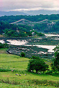 Menai Bridge and Menai Straits in Anglesey, Wales, United Kingdom