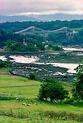 Menai Bridge and Menai Straits in Anglesey, Wales, United Kingdom