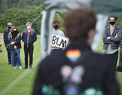 Around a hundred people took part in a demonstration in Kings Park in Stirling in support of the Black Lives Matter campaign, amidst continued protests about statues, the slave trade and the death of George Floyd.<br /> <br /> © Dave Johnston / EEm