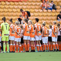 BRISBANE, AUSTRALIA - NOVEMBER 17: Brisbane Roar players line up during the round 4 Westfield W-League match between the Brisbane Roar and Adelaide United at Suncorp Stadium on November 17, 2017 in Brisbane, Australia. (Photo by Patrick Kearney / Brisbane Roar)