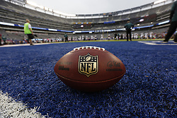 An NFL The Duke Football is seen on the field before the NFL game between the Philadelphia Eagles and the New York Giants on Sunday, October 6th 2013 in East Rutherford, New Jersey. The Eagles won 36-21. (Photo by Brian Garfinkel)