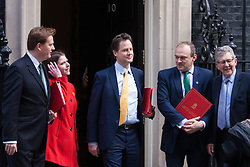 London, March 24th 2015. Members of the Cabinet gather at Downing street for their weekly meeting. PICTURED: Liberal Democrat cabinet members Chief Secretary to the Treasury Danny Alexander, Under Secretary of State for Employment relations, consumer and postal affairs Jo Swinton, Deputy Prime Minister Nick Clegg, Secretary of State for Energy and Climate Change Ed Davey,  pose for the press outside Number 10.