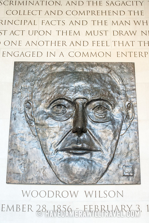 A likeness of Woodrow Wilson on the wall in the Memorial Hallway at the Woodrow Wilson Presidential Memorial Exhibit and Learning Center in the Ronald Reagan Building in downtown Washington DC. The Memorial commemorates the 28th American president.