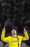 Fotball<br /> UEFA Champions League<br /> Basel v Barcelona<br /> 22.10.2008<br /> Foto: EQ Images/Digitalsport<br /> NORWAY ONLY<br /> <br /> Lionel Messi jubelt nach dem Tor zum 0:1