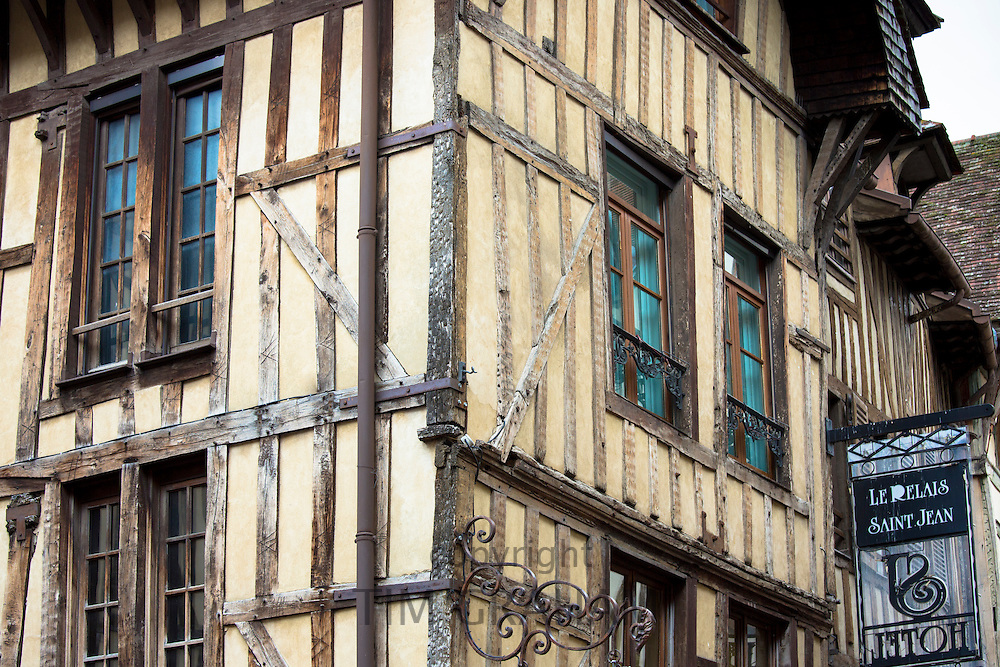 Traditional medieval timber-frame architecture of Le Relais Saint Jean Hotel in Troyes in the Champagne-Ardenne region of France
