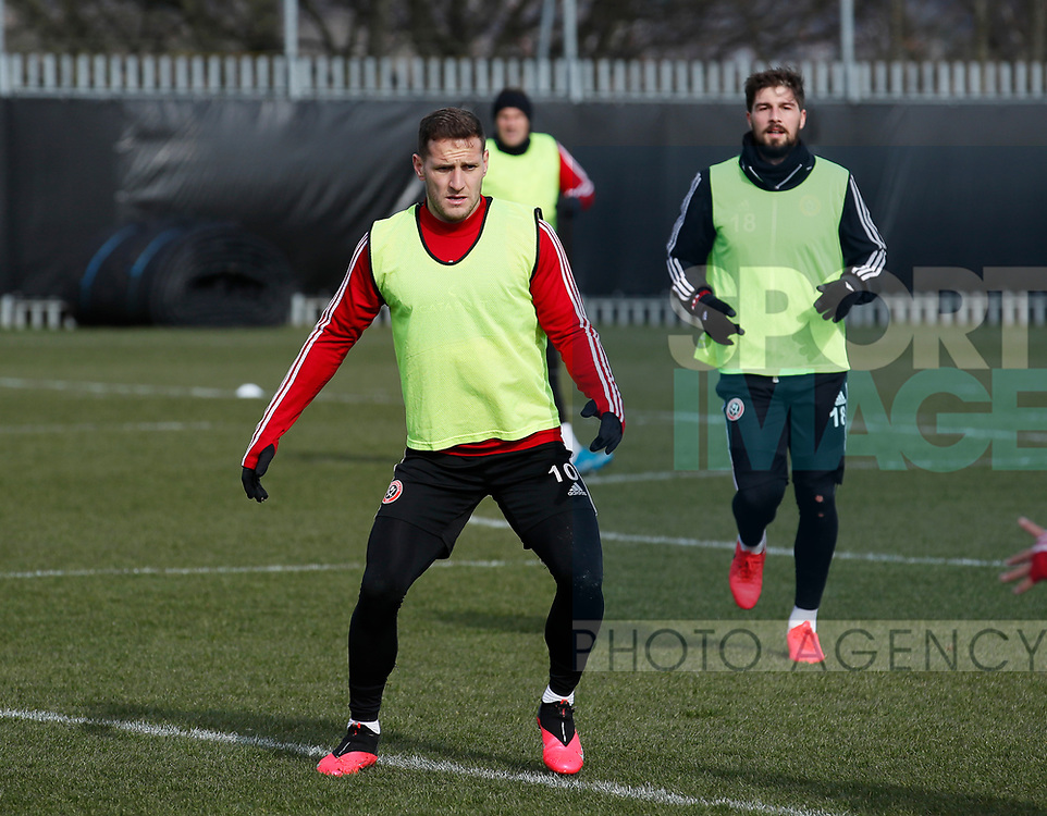Billy Sharp of Sheffield Utd during a training session at the Steelphalt Academy, Sheffield. Picture date: 5th March 2020. Picture credit should read: Simon Bellis/Sportimage