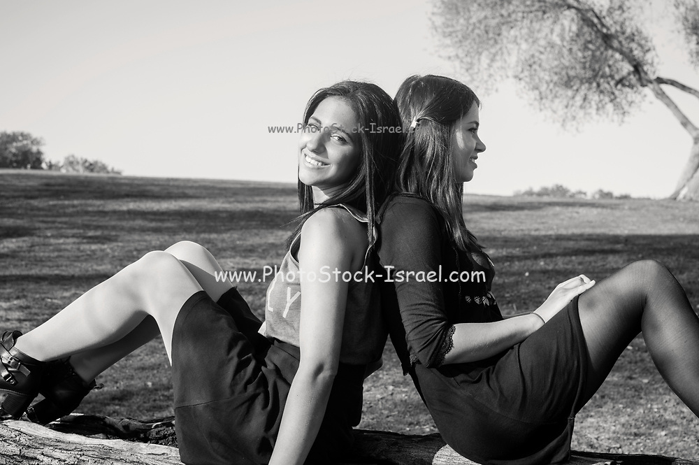 Two girlfriends enjoy each others company in the park. Model released