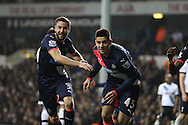 Aleksandar Mitrovic of Newcastle United celebrates © after scoring his sides 1st goal .Barclays Premier league match, Tottenham Hotspur v Newcastle Utd at White Hart Lane in London on Sunday 13th December 2015.<br /> pic by John Patrick Fletcher, Andrew Orchard sports photography.