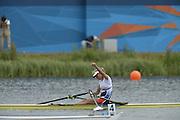 Eton Dorney, Windsor, Great Britain,..2012 London Olympic Regatta, Dorney Lake. Eton Rowing Centre, Berkshire[ Rowing]...Description: CZE W1X Mirka KNAPKOVA. celebrates winning the gold medal in the Women's Single Sculls, Dorney Lake..11:17:45  Thursday  02/08/2012..[Mandatory Credit: Peter Spurrier/Intersport Images].