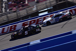 March 16, 2019 - Fontana, California, U.S. - FONTANA, CA - MARCH 16:  Winner of the race Cole Custer (00) Thompson Pipe/Haas Automation Ford getting ready to  pass Matt Mills (5) J.F. Electric Chevrolet on the track during the NASCAR Xfinity Series  race on March 16, 2019 at Auto Club Speedway in Fontana, CA.  (Photo by Lyle Setter/Icon Sportswire) (Credit Image: © Lyle Setter/Icon SMI via ZUMA Press)