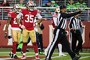 San Francisco 49ers strong safety Eric Reid (35) reacts to a penalty called during a NFL game against the Seattle Seahawks at Levi's Stadium in Santa Clara, Calif., on November 26, 2017. (Stan Olszewski/Special to S.F. Examiner)
