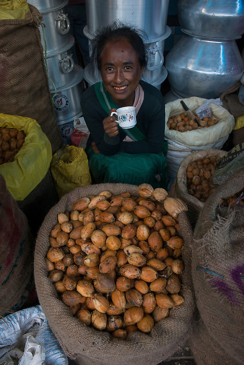 Betel nut, from Areca palm (Areca catechu)<br /> Barabazar market, Shillong<br /> Meghalaya,  ne India