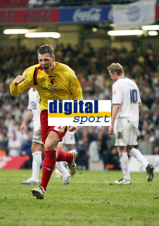 Photo: Rich Eaton.<br /> <br /> Leeds United v Watford. Coca Cola Championship. Play off Final. 21/05/2006.<br /> <br /> Darius Henderson celebrates scoring Watfords 3rd goal