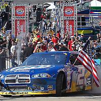16-18 March, 2012, Bristol, Tennessee, USA<br /> Brad Keselowski celebrates his victory.<br /> (c)2012, Phillip Abbott<br /> LAT Photo USA