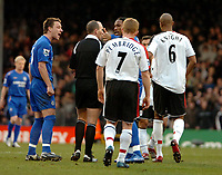 Photo: Ed Godden.<br /> Fulham v Chelsea. The Barclays Premiership. 19/03/2006.<br /> Chelseas Frank Lampard and Didier Drogba disagree with the referees decision to cancel the goal.