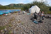 Campsite along Klak Creek, near its confluence with the Kanektok River...Shot in Alaska, USA
