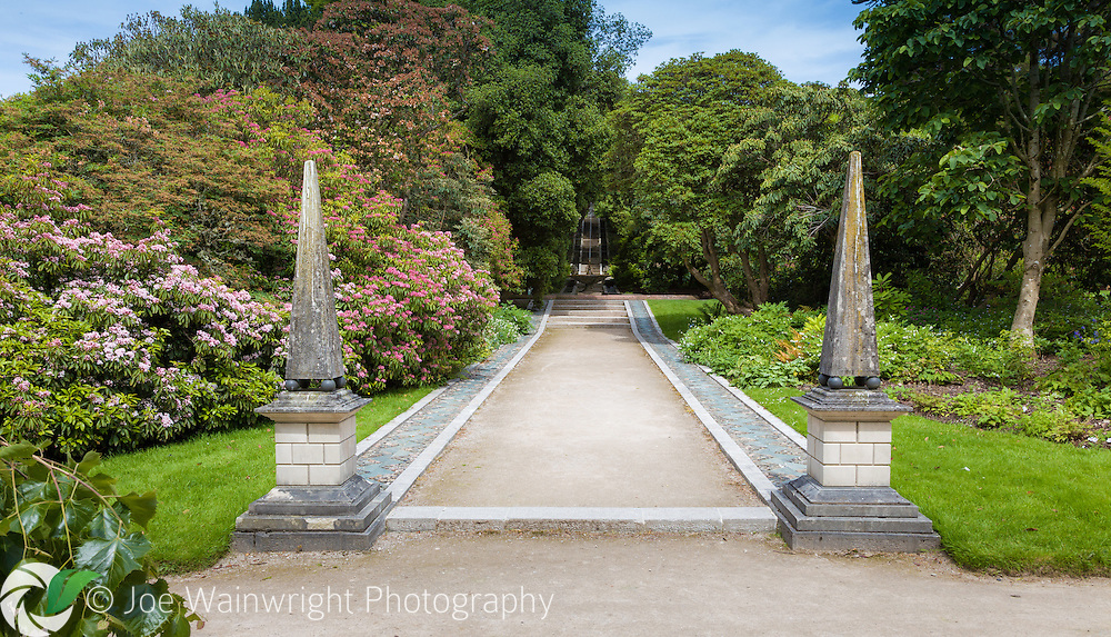 The Neptune Cascade and Fountain, photographed in early summer at Holker Hall, Cumbria