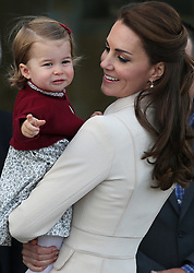 File photo dated 01/10/16 of the Duchess of Cambridge and Princess Charlotte during the Royal Tour of Canada. The Duke and Duchess of Cambridge will celebrate their daughter Princess Charlotte's second birthday on Tuesday.