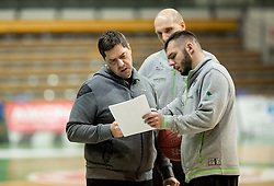 Saso Filipovski, head coach of basketball club Stelmet BC Zielona Gora (POL) and his assistant coaches during practice session of his team, on January 21, 2016 in CRS Hala Zielona Góra, Zielona Gora, Poland. Photo by Vid Ponikvar / Sportida