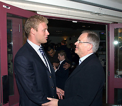 Left to right, ANDREW FLINTOFF and LORD ARCHER at a party to celebrate the publication on 'Confessions of a Dedicated Englishman' by David English held at the Lord's Tavern, St.John's Wood Road, London on 8th May 2006.<br /><br />NON EXCLUSIVE - WORLD RIGHTS