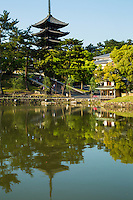 Sarusawa-no-Ike or Sarusawa Pond <br /> is surrounded by willow trees and the five storey pagoda of Kofukuji Temple reflected in its waters. This scene is often used  to represent Nara.<br /> The pond was originally a part of Kofukuji Temple