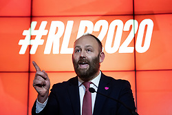 © Licensed to London News Pictures. 17/01/2020. Manchester, UK. Salford Mayor PAUL DENNETT , speaks ahead of Long-Bailey . Salford & Eccles MP Rebecca Long-Bailey launches her campaign to succeed Jeremy Corbyn in the race for Labour Party leadership , at an event in the Museum of Science and Industry in Manchester City Centre . Photo credit: Joel Goodman/LNP