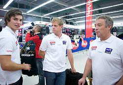 Miha Kurner, Klemen Bergant and Dejan Poljansek of Slovenian National team at press conference before new alpine ski season 2009/2010,  on October 19, 2009, in BTC, Ljubljana, Slovenia.   (Photo by Vid Ponikvar / Sportida)