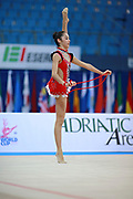 """Agiurgiuculese Alexandra during rope routine at the International Tournament of rhythmic gymnastics """"Città di Pesaro"""", 03 April,2016. Alexandra is an Italian individualistic gymnast, of Romanian origins, born in Lasi, 15 January, 2001.<br /> This tournament dedicated to the youngest athletes is at the same time of the World Cup."""