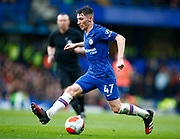 Chelsea's Billy Gilmour  during an English Premier League soccer match between Chelsea and Everton at Stamford Bridge stadium, Sunday, March 8, 2020, in London, United Kingdom. Chelsea defeated Everton 4-0. (Mitchell Gunn-ESPA Images/Image of Sport via AP)