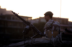 Kabul, 17 July 2005...Danish soldier on board of a military  vehicle, patrolling the street of the Afghan's capital.