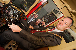 Mayor of Rotherham Cllr Shaun Wright behind the wheel of a vintage Scania lorry at the South Yorkshire Transport Museum Waddington Way.Aldwarke Rotherham with Operations Director, Dave Taylor, Director Steve Jones and Marketing Manager Richard Baker...120646 Mayor Visits South Yorkshire Transport Museum..http://www.pauldaviddrabble.co.uk.21 April 2012 .Image © Paul David Drabble