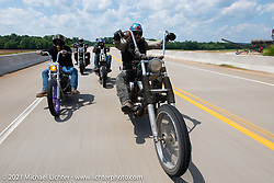 Danger Dan Hardick and friends on a Sunday chopper ride on the beautiful roads near the Tennessee Motorcycles and Music Revival. Hurricane Mills, TN, USA. May 23, 2021. Photography ©2021 Michael Lichter.