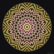 Wicker textured Manadala with star motif radiating with harmonic purple, magenta, green, red, and gold colors.