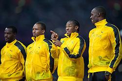 11.08.2012, Olympia Stadion, London, GBR, Olympia 2012, 4 x 100m Staffel, Herren, Podium, im Bild Gold medaille für Team Jamaica, Nesta Carter (JAM), Michael Frater (JAM), Yohan Blake (JAM), Usain Bolt (JAM) // Gold medal Team Jameica, Nesta Carter (JAM), Michael Frater (JAM), Yohan Blake (JAM), Usain Bolt (JAM) during Men's 4 x 100m Relay Podium at the 2012 Summer Olympics at Olympic Stadium, London, United Kingdom on 2012/08/11. EXPA Pictures © 2012, PhotoCredit: EXPA/ Johann Groder