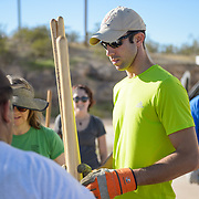 """Photo Archive/2014/10-October/""""A"""" Mountain Restoration<br /> <br /> """"A"""" Mountain Restoration<br /> Campus Sustainability Day is celebrated by volunteers helping to restore walking and hiking trails on """"A"""" Mountain."""