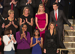 United States First Lady Melania Trump (bottom right) is applauded as she arrives at an address by President Donald J. Trump to a joint session of Congress on Capitol Hill in Washington, DC, USA, February 28, 2017. Photo by Chris Kleponis/CNP/ABACAPRESS.COM