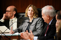 April 24, 2018 - St. Paul, Minnesota, USA - Rep. Jennifer Schultz, DFL-Duluth listened as Rep. Lyndon Carlson Sr., DFL-Crystal challenged Chairman Greg Davids on which amendments would be taken up by the committee. ..      ] GLEN STUBBE Â¥ glen.stubbe@startribune.com   Tuesday, April 24, 2018     .. More details on the House GOP tax plan as they try to fix the mess resulting from the federal tax overhaul of last year.   ..What's Happening at this time:  House Taxes Committee. Chair Greg Davids will present his bill to cut taxes. (Credit Image: © Glen Stubbe/Minneapolis Star Tribune via ZUMA Wire)