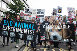 Animal rights activists from Camp Beagle take part in a National Animal Rights March on 28th August 2021 in London, United Kingdom. Camp Beagle is calling for the release of beagle dogs reared for animal research from MBR Acres in Huntingdon. Animal Rebellion, an offshoot of Extinction Rebellion, organised the march for the sixth day of Extinction Rebellion's Impossible Rebellion protests in London.