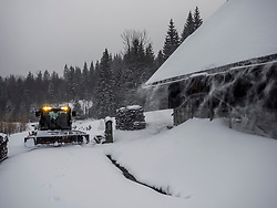 Preparing ski track with machine in the black forest, Feldberg, Baden Wuerttemberg, Germany