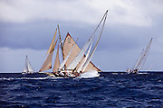 Infanta and Kate sailing in the Windward Race at the Antigua Classic Yacht Regatta.
