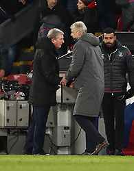 Crystal Palace manager Roy Hodgson and Arsenal manager Arsene Wenger (right) after the Premier League match at Selhurst Park, London.