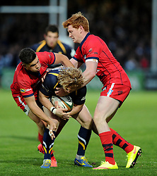 Inside Centre Ben Mosses and Bristol Rugby Outside Centre Jack Tovey tackle Worcester Winger Tom Biggs  - Photo mandatory by-line: Joe Meredith/JMP - Mobile: 07966 386802 - 27/05/2015 - SPORT - Rugby - Worcester - Sixways Stadium - Worcester Warriors v Bristol Rugby - Greene King IPA Championship