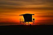 Huntington Beach Lifeguard Tower at Sunset